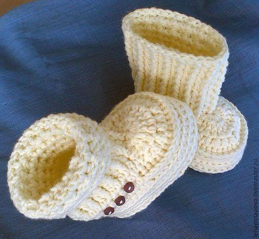 """Для новорожденных, ручной работы. Ярмарка Мастеров - ручная работа. Купить Пинетки-ботиночки """"Крем-брюле"""" версия ванильная. Handmade."""