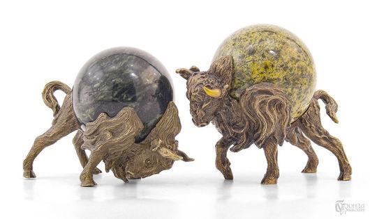 Элементы интерьера ручной работы. Ярмарка Мастеров - ручная работа. Купить Атакующие бизоны. Handmade. Охота, охотнику, скульптурная миниатюра