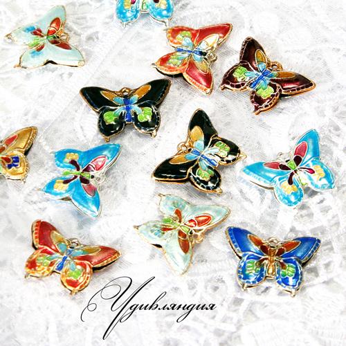 Для украшений ручной работы. Ярмарка Мастеров - ручная работа. Купить Подвески клуазонне «Яркие бабочки-1» №19.. Handmade.