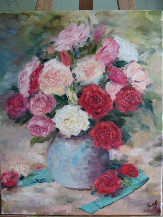 """Картины цветов ручной работы. Ярмарка Мастеров - ручная работа. Купить Картина маслом """"Букет"""". Handmade. Картина маслом цветы"""