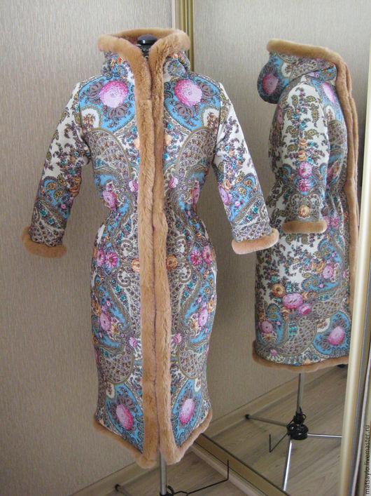 Верхняя одежда ручной работы. Ярмарка Мастеров - ручная работа. Купить Пальто из павловопосадских платков.. Handmade. Разноцветный, пошив на заказ