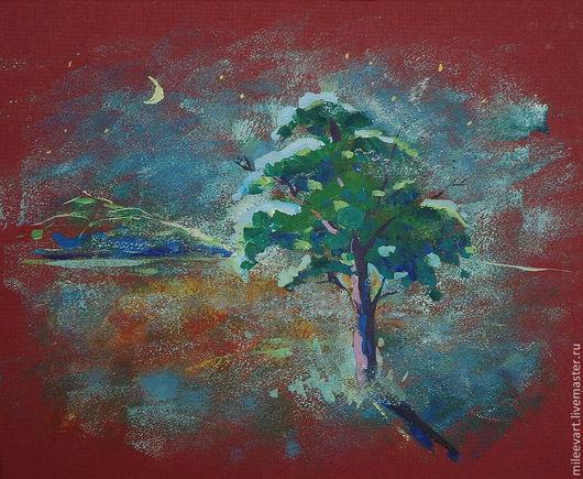 Пейзаж ручной работы. Ярмарка Мастеров - ручная работа. Купить Лунная ночь. Авторская работа. Handmade. Картина, лунный свет