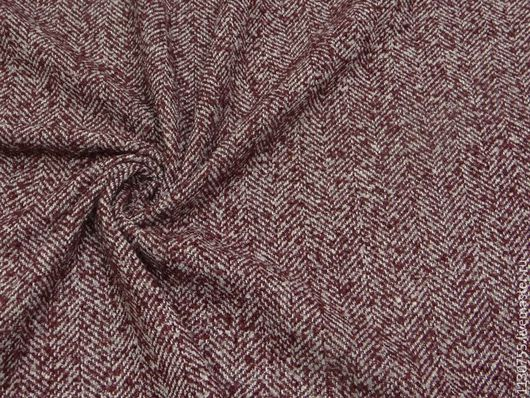Шитье ручной работы. Ярмарка Мастеров - ручная работа. Купить Ткань  твид  бордо костюмно-пальтовая. Handmade. Комбинированный, твид