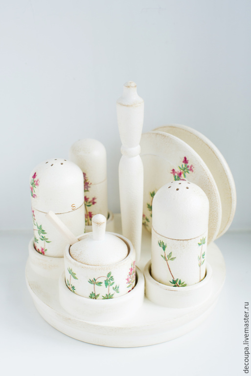 """Кухня ручной работы. Ярмарка Мастеров - ручная работа. Купить Набор для кухни """"Thyme"""". Handmade. Белый, солонка, для специй"""