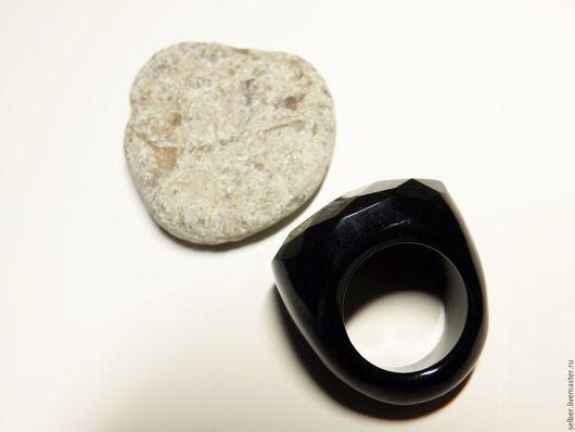 Кольца ручной работы. Ярмарка Мастеров - ручная работа. Купить Перстень из агата Королевский черный 17.5-17.75 р-р. Handmade.