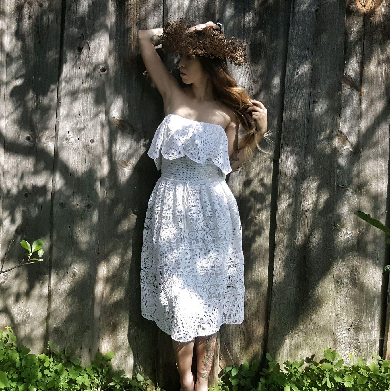 """Платье """"Белый лотос"""" в стиле Бохо крючком, Сарафаны, Иваново,  Фото №1"""