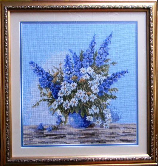 """Картины цветов ручной работы. Ярмарка Мастеров - ручная работа. Купить Вышивка крестом букет """"Дельфиниум"""". Handmade. Комбинированный, цветы"""