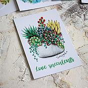 Открытки ручной работы. Ярмарка Мастеров - ручная работа Суккуленты - почтовая открытка. Handmade.