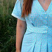 Платья ручной работы. Ярмарка Мастеров - ручная работа Голубое длинное  платье  из хлопка с кружевом. Handmade.