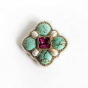 Brooches handmade. Livemaster - original item Order brooch with pearl and turquoise. Handmade.