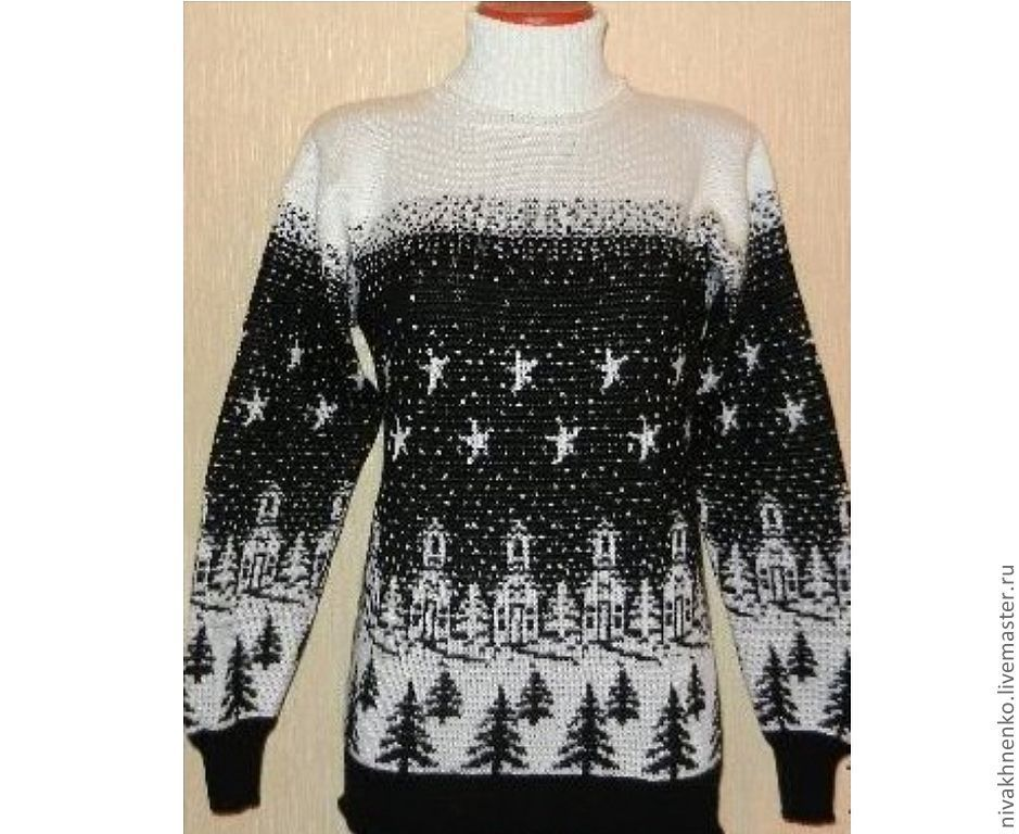 Knit sweater ornament the night before Christmas, Sweaters, Moscow,  Фото №1