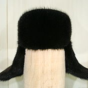 Аксессуары handmade. Livemaster - original item Ushanka mens fur muskrat. Color black. Handmade.