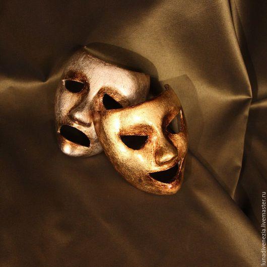 Интерьерные  маски ручной работы. Ярмарка Мастеров - ручная работа. Купить Маски театральные Комедия и Трагедия (мини, пара). Handmade.
