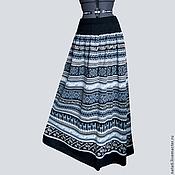 Одежда ручной работы. Ярмарка Мастеров - ручная работа Юбка - клеш  макси черная с серо-голубым. Handmade.