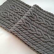 Аксессуары handmade. Livemaster - original item Knitted Heart scarf gray with braids the winter.. Handmade.