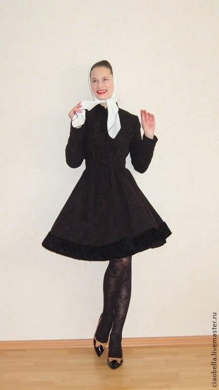 """Верхняя одежда ручной работы. Ярмарка Мастеров - ручная работа. Купить Пальто """"Anais"""". Handmade. Черный, пальто с юбкой солнце"""