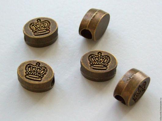 Для украшений ручной работы. Ярмарка Мастеров - ручная работа. Купить Бусина шарм Корона бронза. Handmade. Бусина, металл