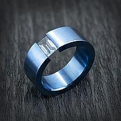 handmade. Livemaster - original item Titanium ring blue with blue Topaz. Handmade.