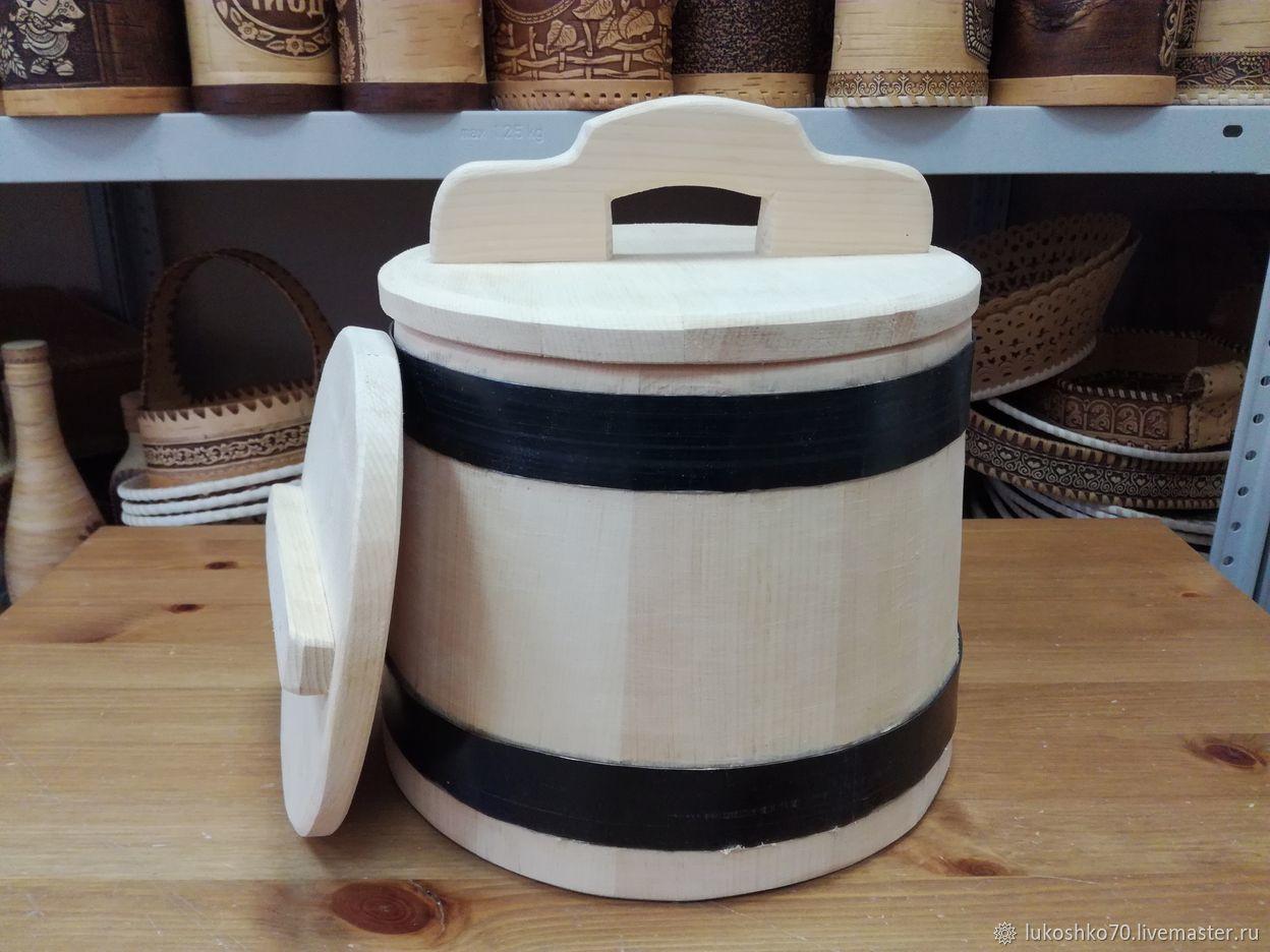 The wooden tub made of cedar for pickling 5 liters. Barrel pickles, Kadka, Tomsk,  Фото №1