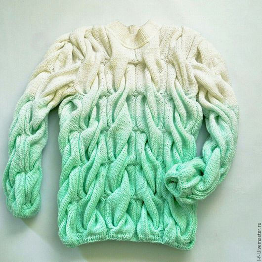 Кофты и свитера ручной работы. Ярмарка Мастеров - ручная работа. Купить Вязаный свитер от KESLOVE мята. Handmade. Однотонный