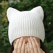 Аксессуары ручной работы. Ярмарка Мастеров - ручная работа Вязаная женская шапка-кошка, шапка с ушками, котошапка  для девушки. Handmade.
