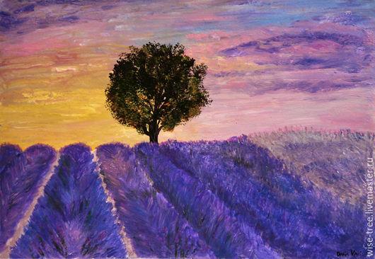 """Пейзаж ручной работы. Ярмарка Мастеров - ручная работа. Купить Картина """"Лавандовый закат"""" (акрил). Handmade. Лаванда, картина акрилом"""