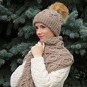 Аксессуары ручной работы. Ярмарка Мастеров - ручная работа Большой уютный шарф и шапка с лисьим помпоном. Handmade.