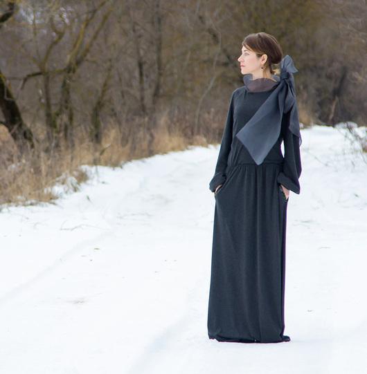 Платья ручной работы. Ярмарка Мастеров - ручная работа. Купить Серое платье на шелковой подкладке. Handmade. Серый, платье вечернее