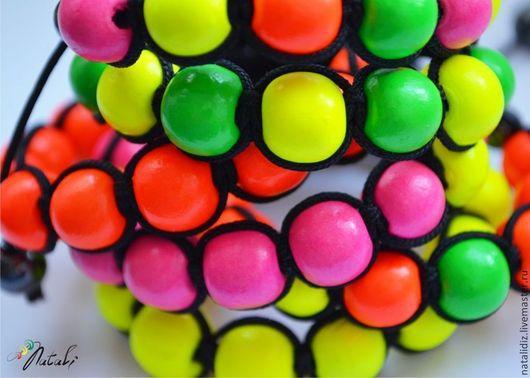 """Браслеты ручной работы. Ярмарка Мастеров - ручная работа. Купить Комплект браслетов Шамбала """"Неоновая радуга"""" 6 шт.. Handmade."""