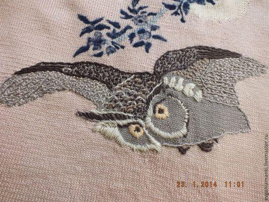Кофты и свитера ручной работы. Ярмарка Мастеров - ручная работа. Купить джемпер  кимоно Ночная охотница Сова вязаный женский авторский. Handmade.