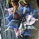 Брошь-цветок сине-серо-розоватого цвета. Диаметр 12 см. Продана Цена 1500 руб