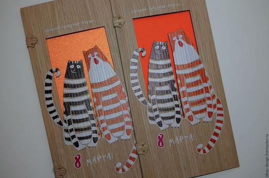 Деревянная открытка с котиками С 8 Марта