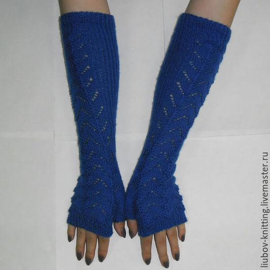 Варежки, митенки, перчатки ручной работы. Ярмарка Мастеров - ручная работа. Купить Митенки ажурные длинные. Handmade. Тёмно-синий