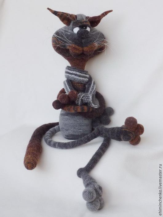 Игрушки животные, ручной работы. Ярмарка Мастеров - ручная работа. Купить Вязаная интерьерная кукла Кот Остап. Handmade. Серый