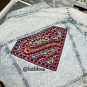 Одежда ручной работы. Ярмарка Мастеров - ручная работа Джинсовая куртка с вышивкой. Handmade.