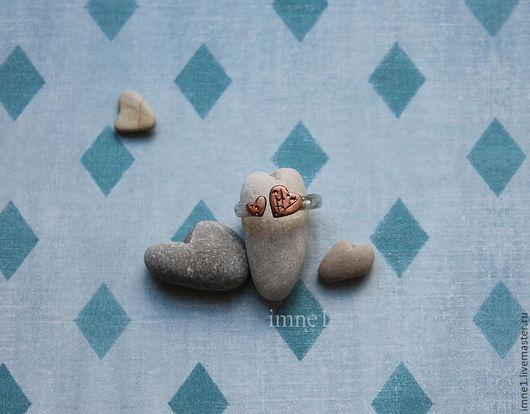 Кольца ручной работы. Ярмарка Мастеров - ручная работа. Купить Два сердца. Handmade. Серебряный, сердце, безразмерное кольцо