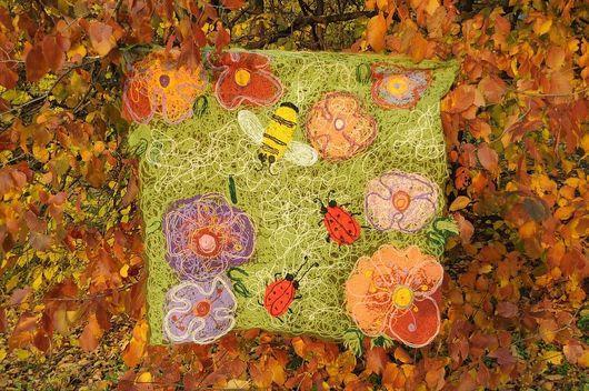 Пледы и одеяла ручной работы. Ярмарка Мастеров - ручная работа. Купить Детский плед - коврик «Летняя полянка». Handmade. Плед