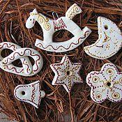 Подарки к праздникам ручной работы. Ярмарка Мастеров - ручная работа Набор елочных игрушек Натурал. Handmade.