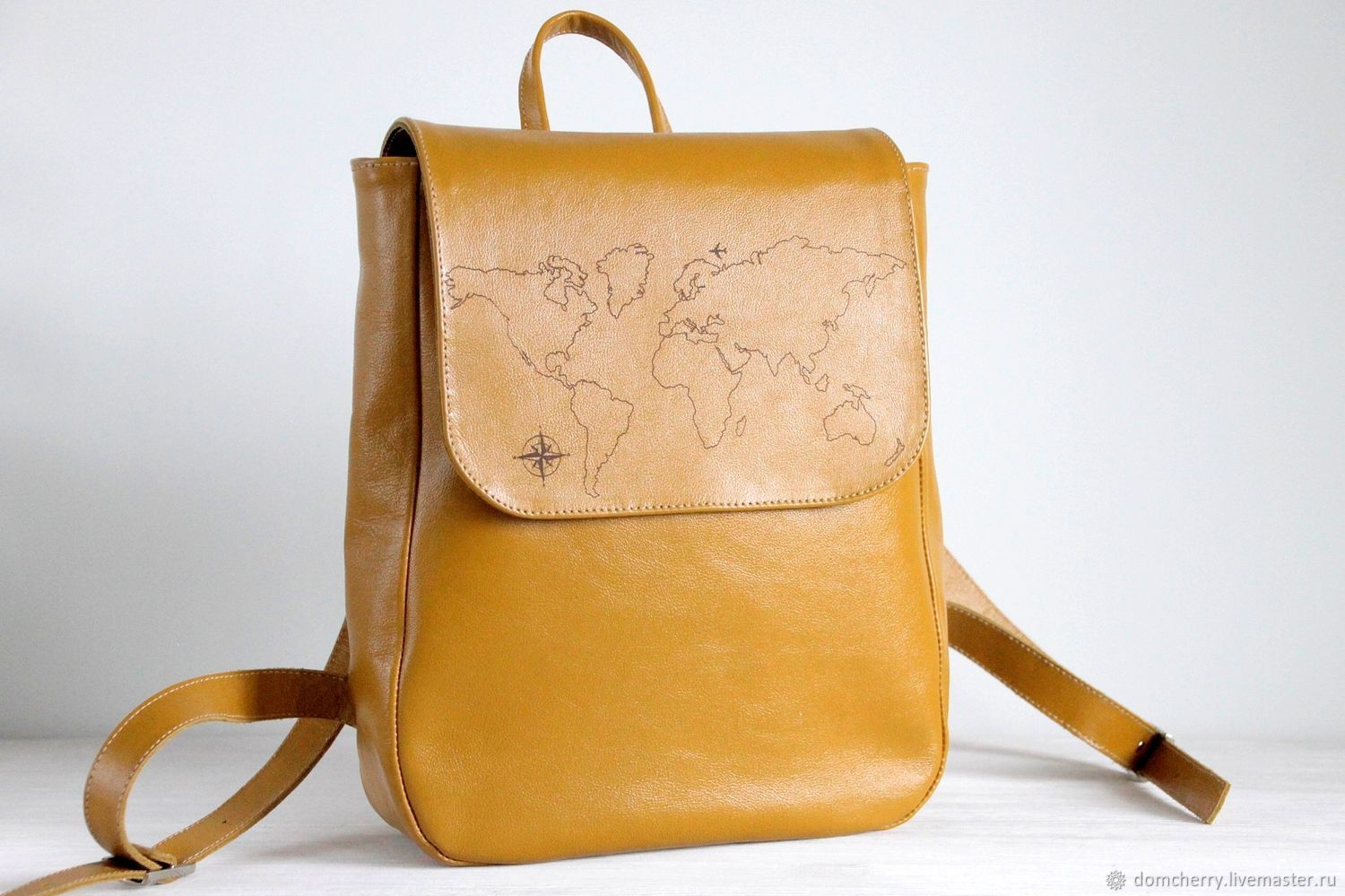 Backpack. Women's urban leather backpack. World map, Backpacks, Pskov,  Фото №1