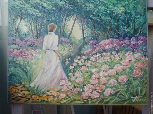 Пейзаж ручной работы. Ярмарка Мастеров - ручная работа. Купить Девушка в саду. Handmade. Комбинированный, цветы, холст на подрамнике
