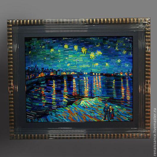 """Мозаика (копия полотна Ван Гога """"Звездная ночь над Роной"""")."""