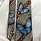 Tie men's silk batik 'morpho butterflies', Ties, St. Petersburg,  Фото №1