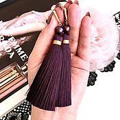 Украшения handmade. Livemaster - original item Earrings-brush Rich wine dark red Marsala Burgundy silk. Handmade.
