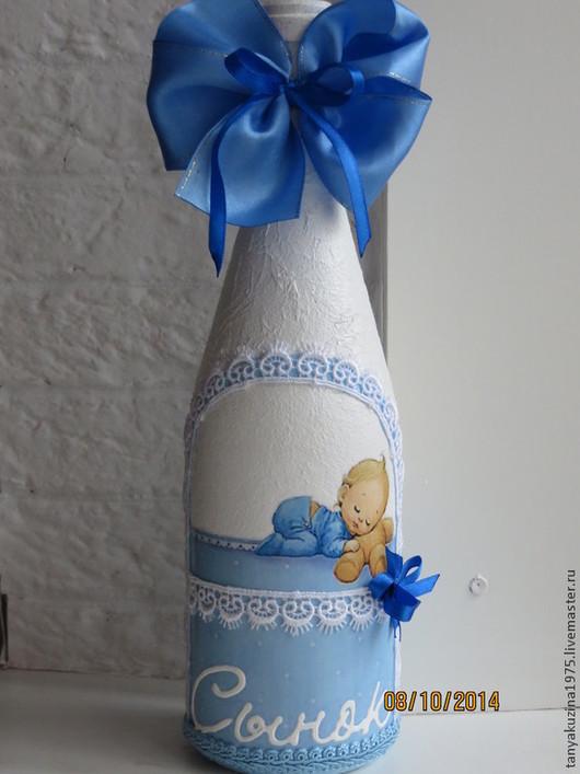 """Подарки для новорожденных, ручной работы. Ярмарка Мастеров - ручная работа. Купить Декор бутылки - """" С новорожденным"""".. Handmade."""