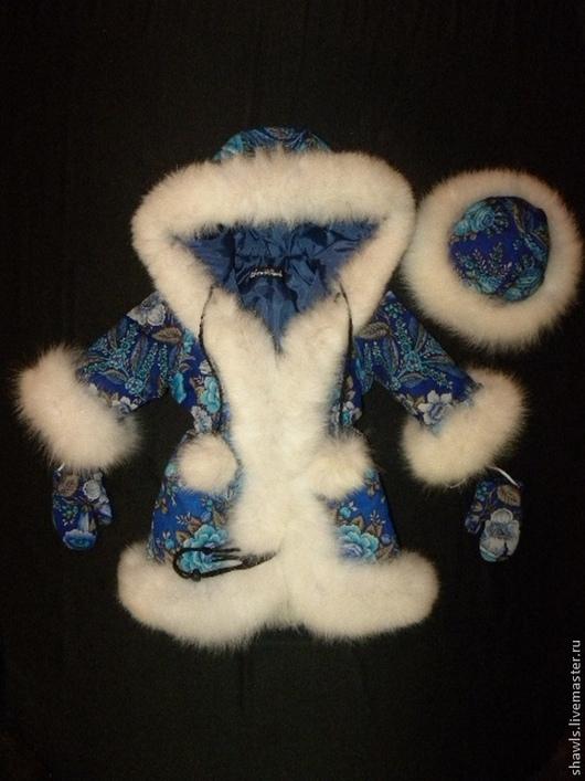 """Одежда для девочек, ручной работы. Ярмарка Мастеров - ручная работа. Купить Куртка детская """"Снегурочка"""" из павловопосадского платка. Handmade. Цветочный"""