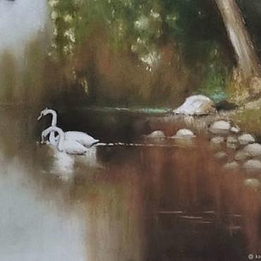 Картины и панно ручной работы. Ярмарка Мастеров - ручная работа Лебеди на пруду. Handmade.