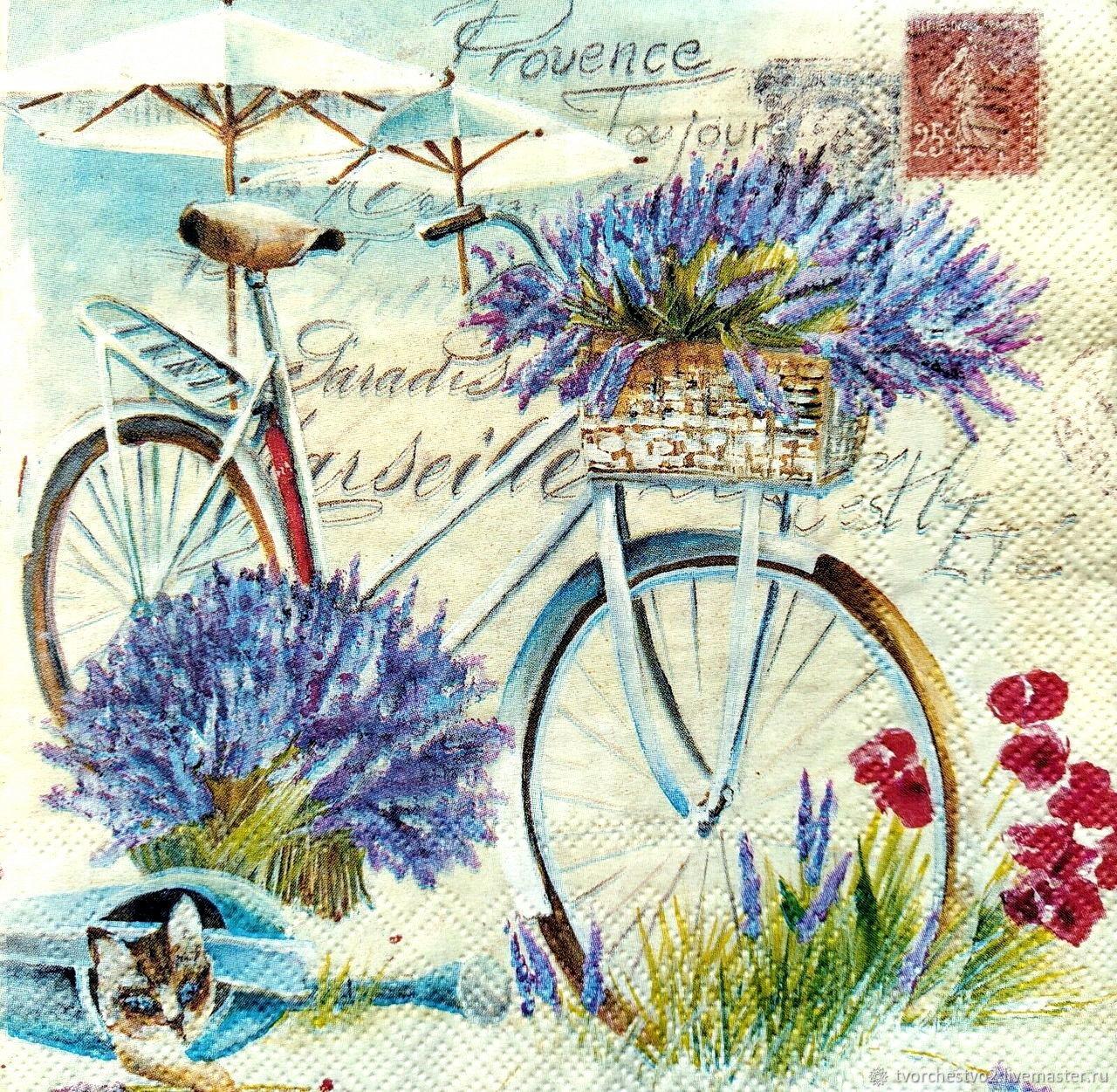 Картинка для декупажа велосипед