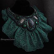 """Украшения ручной работы. Ярмарка Мастеров - ручная работа Колье """"Emerald rose"""" черные обсидианы, кружева. Handmade."""