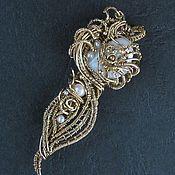 Украшения handmade. Livemaster - original item Brooch-pendant Gold Flower decoration with mother of pearl and pearls. Handmade.