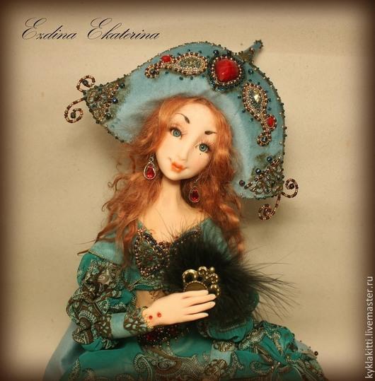 Коллекционные куклы ручной работы. Ярмарка Мастеров - ручная работа. Купить Шахерезада. Handmade. Тёмно-бирюзовый, бархат